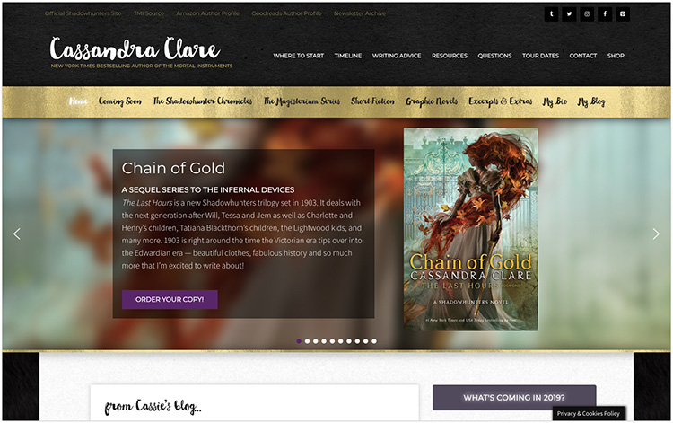 Cassandra Clare author website design