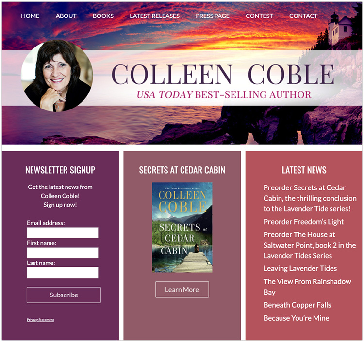 Colleen Coble author website design