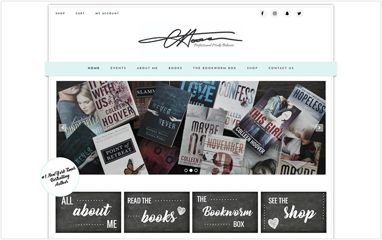 Colleen Hoover author website design