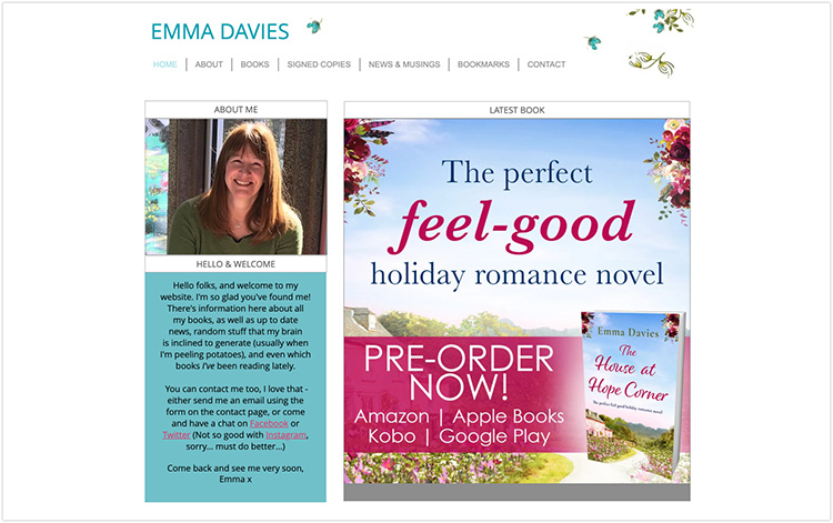 Emma Davies author website design
