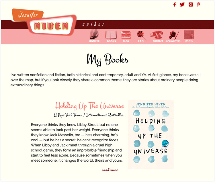 Jennifer Niven author website design