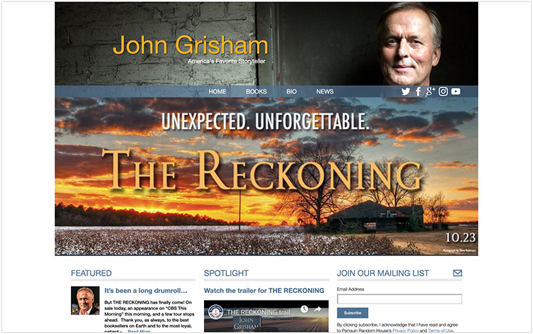 John Grisham author website design