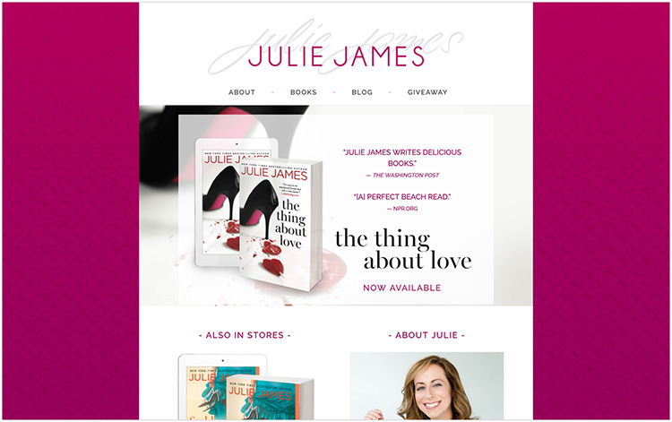 Julie James author website design