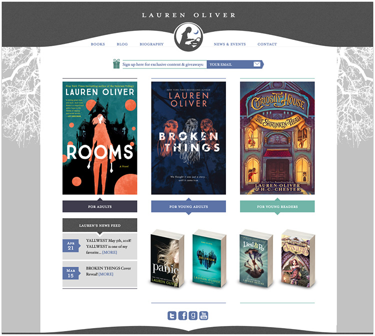 Lauren Oliver author website design