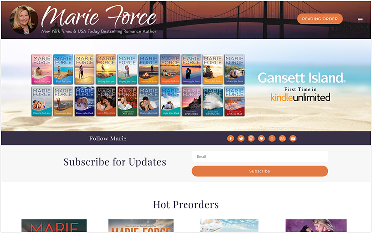 Marie Force author website design