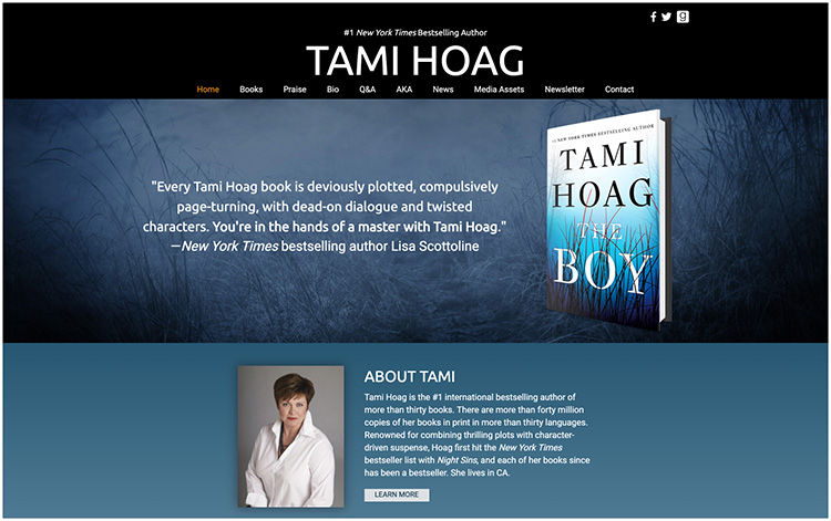 Tami Hoag author website design