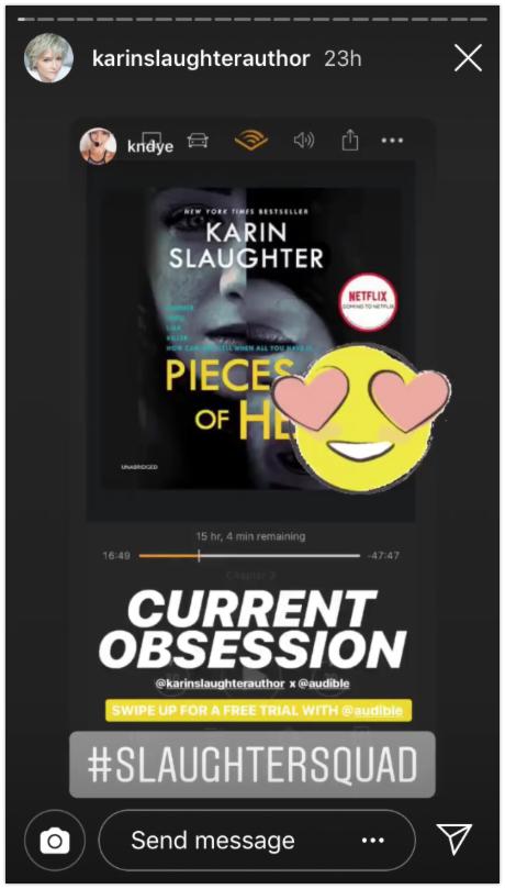 Slaughter Squad Instagram stories hashtags Karin Slaughter