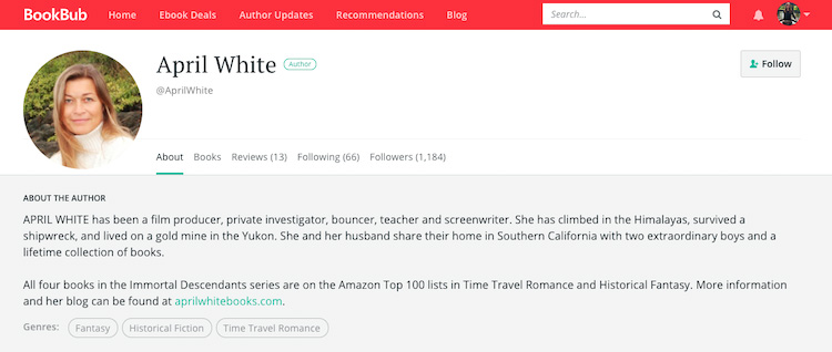 April White BookBub Author Profile