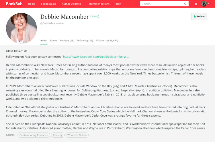 Debbie Macomber BookBub Author Profile