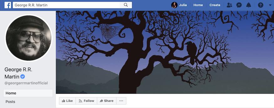 George R R Martin Facebook Page