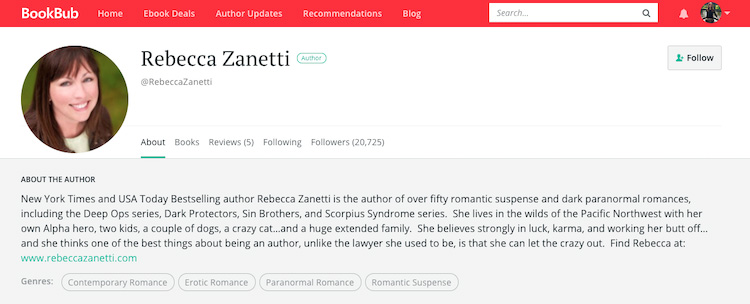 Rebecca Zanetti BookBub Author Profile