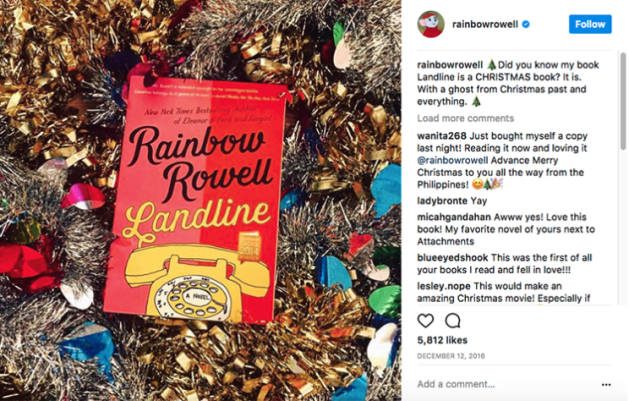 Ways to Sell More Books for the Holidays Rainbow Rowell on instagram