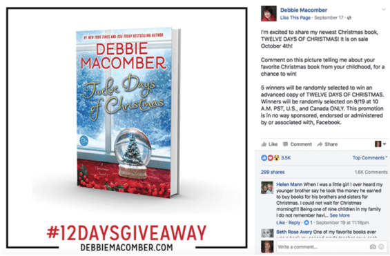 Authors use Facebook Debbie Macomber