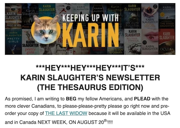 Karin Slaughter Newsletter