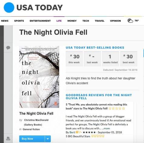 USA Today Bestselling Chart 2 Christina McDonald