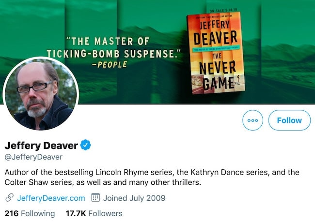 Jeffery Deaver Twitter Cover