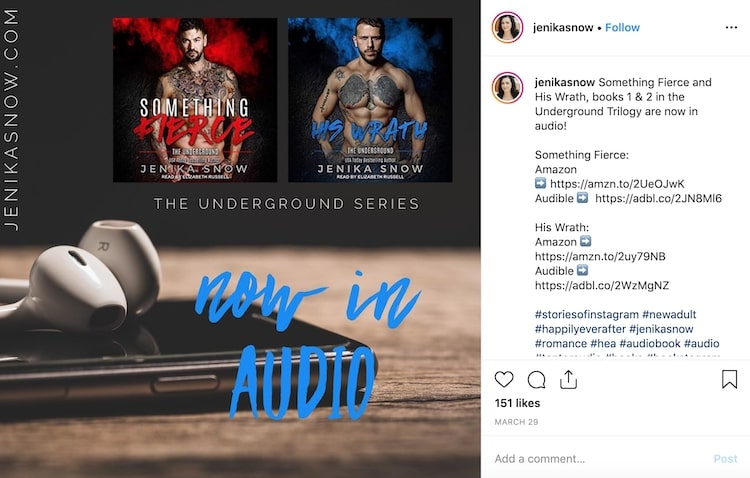 Instagram promotion for Jenika Snow's Underground series