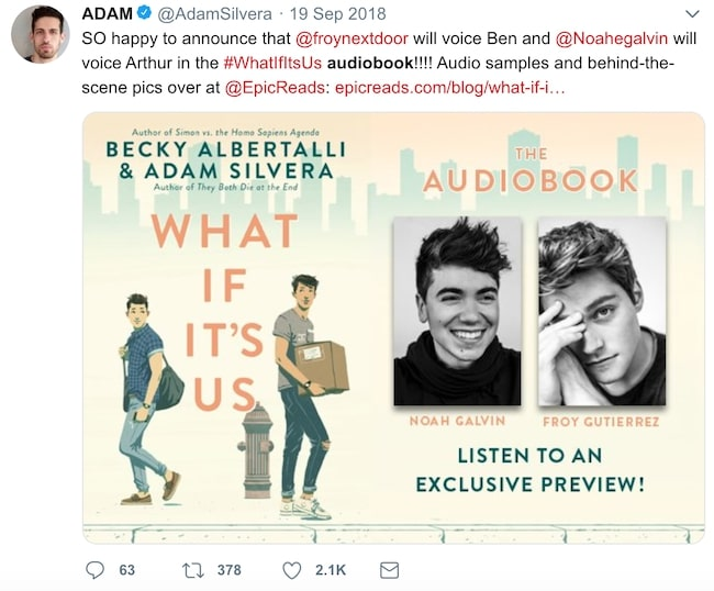 What if it's us audiobook tweet from Adam Silvera