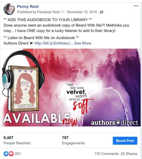 Facebook giveaway post for Penny Reid's audiobook