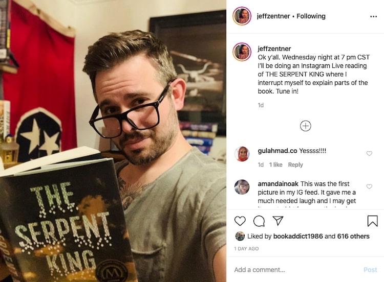 Jeff Zentner author reading on Instagram Live