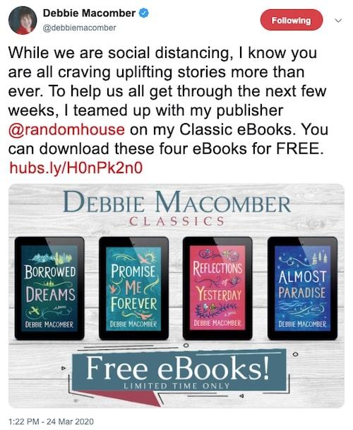 Debbie Macomber social distancing tweet