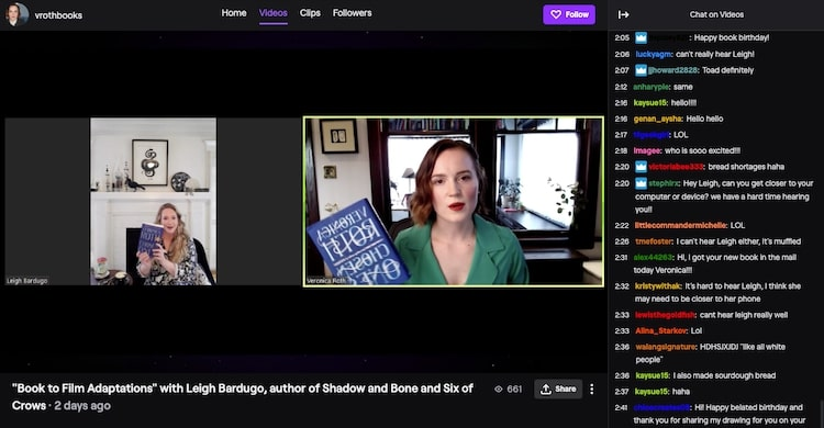 Veronica Roth virtual book launch on Twitch