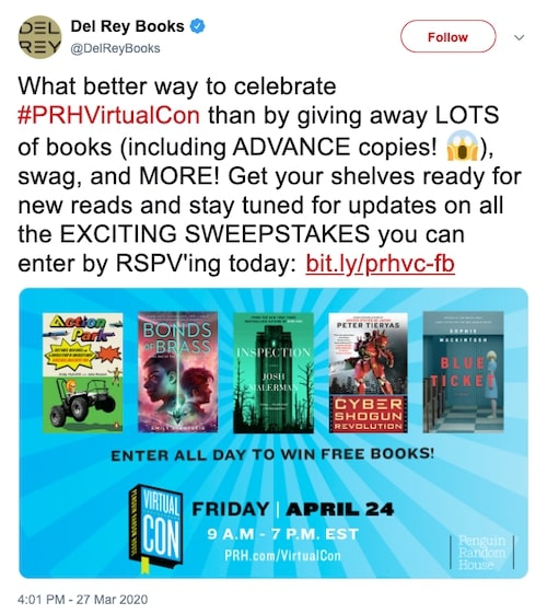 Del Rey Books tweeting about Virtual Con