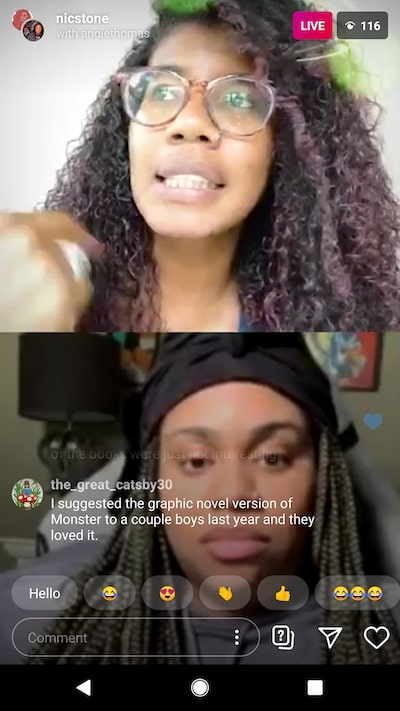 Angie Thomas and Nic Stone chatting over instagram live