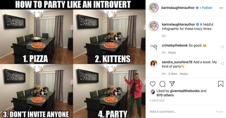 Karin Slaughter funny Instagram post covid-19