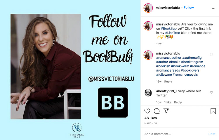 Graphic Encouraging Fans to Follow BookBub Page