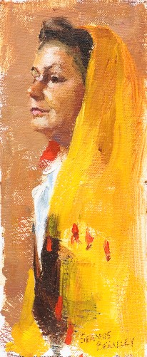 Oil portrait painting study of Diane in a yellow shawl.