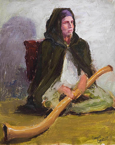 Portrait painting of a musician in a cape holding a didgeridoo.