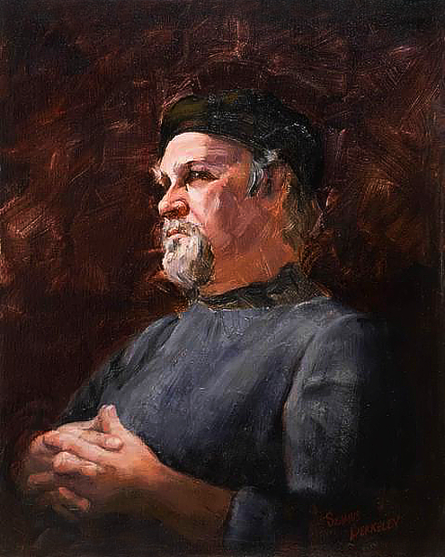 Oil portrait painting of painter Louis Tedesco in a classical style with the subject brightly lit and posed against a warm dark background.