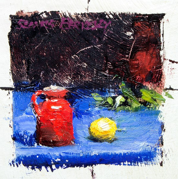Small oil painting study of a red vase and lemon on a bright blue fabric with a deep magenta background.