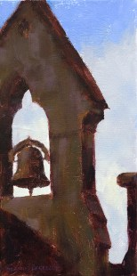 Oil painting of a church spire and bell in front of a blue sky with white clouds in Dingle, Ireland