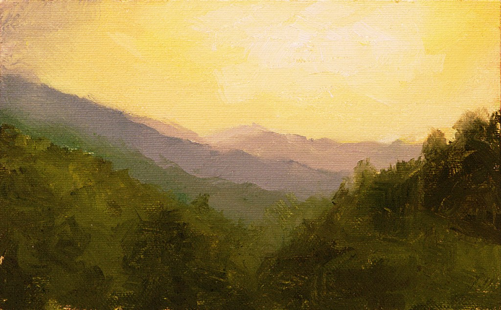 Oil painting of a landscape near Todos Santos, Guatemala with the sun just above the horizon of hills and forests.