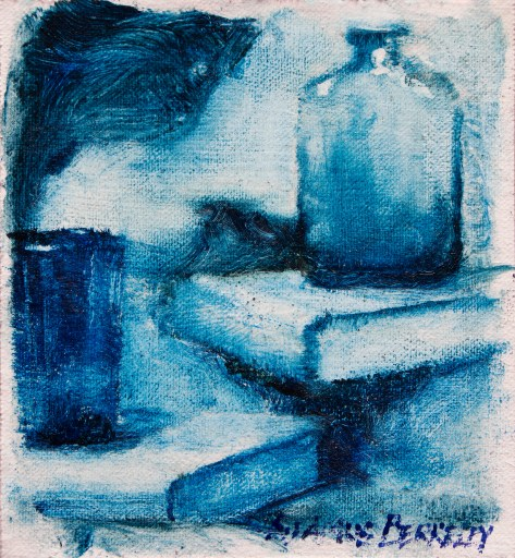 """Monochromatic blue oil painting still life study of a bottle and glass on a stack of books. Blues, Original oil on canvas, 5.5"""" x 5"""" Framed prints and canvases, digital download, commercial and advertising licensing of photographs by Seamus Berkeley."""