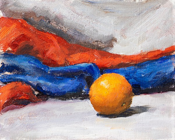 """Still life oil painting of an orange on a white fabric with red and blue background fabrics. Created as a demonstration for the oil painting instructional video 'Fundamentals of Painting'. Orange, Red, Grey and Blue, Original oil on canvas, 8"""" x 10"""" Framed prints and canvases, digital download, commercial and advertising licensing of photographs by Seamus Berkeley."""