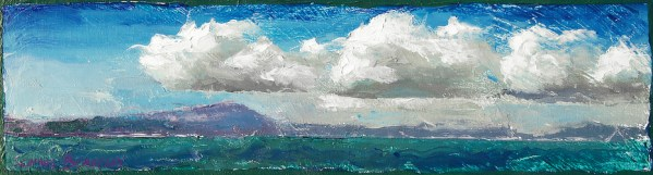 """Living and working near the San Francisco East Bay offered many memorable scenes, like this one looking westward from César E. Chávez Park toward Tiburon and Sausalito. It is always fascinating to see how the clouds float above the water, often brightly lit by the sunlight from above and reflecting the colors of the water from below. Original oil painting on canvas, framed, ready to hang. Remembering the Bay I, Original oil on canvas, 5.5"""" x 18.5"""""""