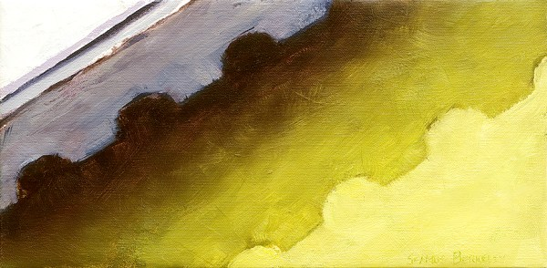"""Abstract oil painting of the eave of a green house in Kenmare, Ireland. Slice of Green, Original oil on canvas, 8"""" x 16"""""""