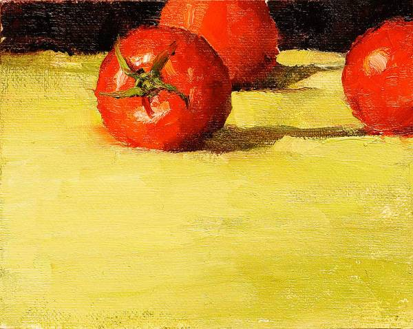 """Still life oil painting of three bright red tomatoes, placed on high horizon, juxtaposed against a bright light green fabric in the foreground and a dark background. Sliced Tomatoes, Original oil on canvas, 4"""" x 5"""" Framed prints and canvases, digital download, commercial and advertising licensing of photographs by Seamus Berkeley."""