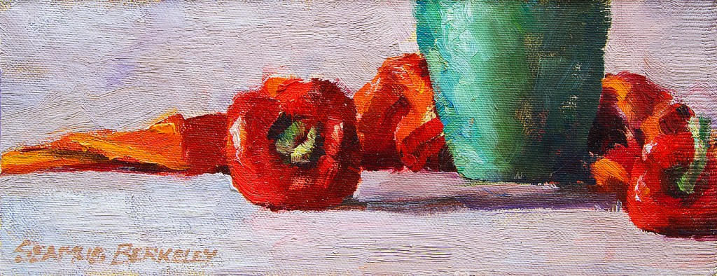 """Oil painting still life of two bright red peppers and a yellow-green copper vase in a setting of white, red and orange fabrics. Red Peppers, Green Vase, Original oil on canvas, 4"""" x 10"""" Framed prints and canvases, digital download, commercial and advertising licensing of photographs by Seamus Berkeley."""