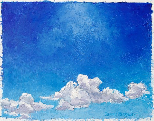"""Oil painting of white clouds in a dark blue sky, lit from above by bright sunlight in the high desert of Taos, New Mexico, Land of Enchantment. White Below, Blue Above, Original oil on canvas, 10"""" x 12.5"""""""