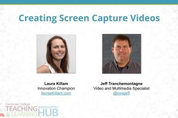 """The title slide for this presentation titled """"Creating Screen Capture Videos."""" There is a picture of Laura and Jeff on the slide."""