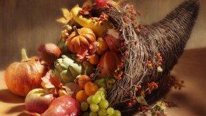 pumpkins, nuts, grapes in straw cornucopia