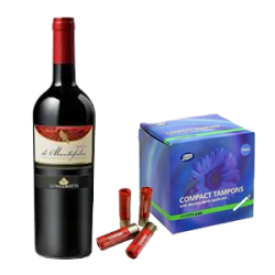 Wine, shotgun shells, and tampons