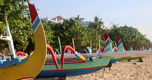 Jukung boats on sanur beach in bali