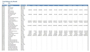 Nav014 Trial Balance By Month