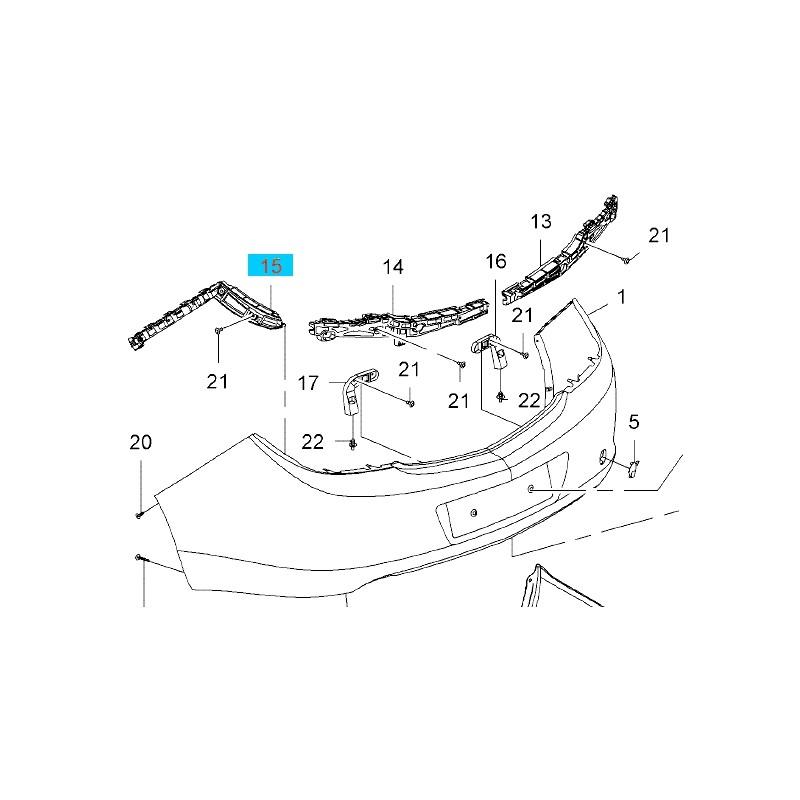 Ślizg prawy, mocowanie zderzaka tylnego GM 22870928 (Opel