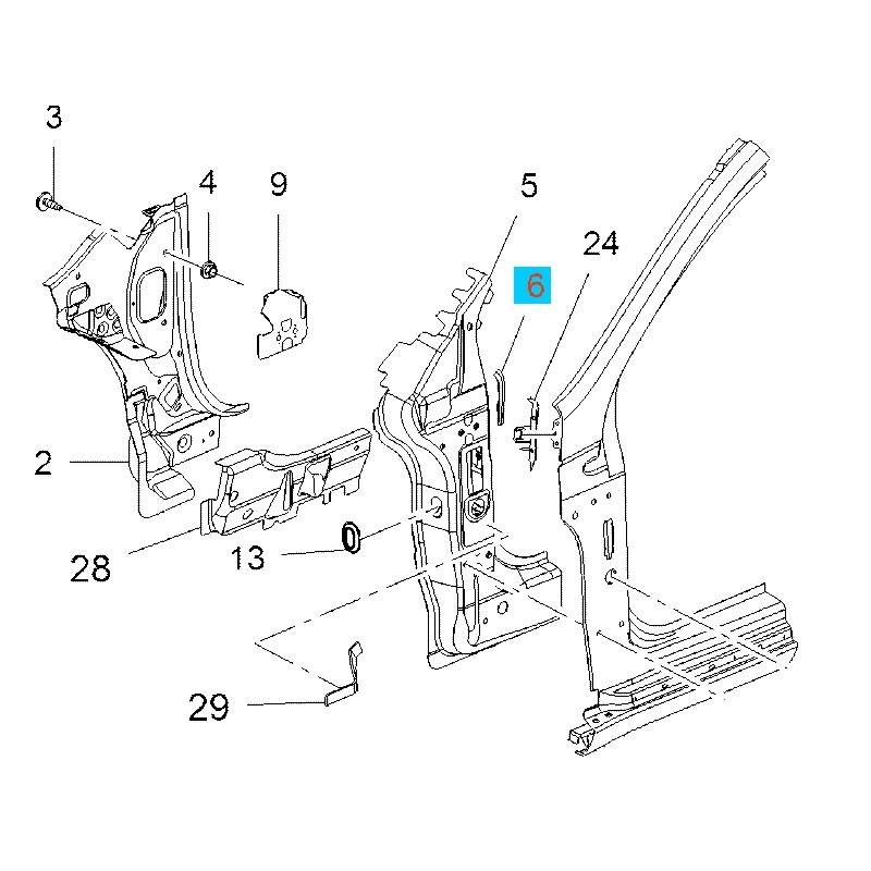Płytka wypełniająca poszycia bocznego, prawa GM13270566